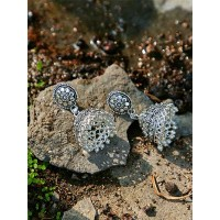 Floral Oxidized Silver Ethnic Jhumkas