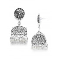 Oxidized Silver Jhumkas With Pearls