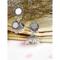 Oxidized Silver Mirror Jhumkas