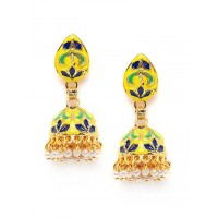 Multicolored Short Meenakari Jhumkas
