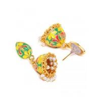 Floral Multicolored Short Meenakari Jhumkas