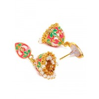 Short Pink and Green Meenakari Jhumka Earrings For Women