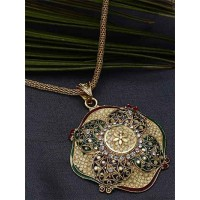 Golden Flower Ethnic Pendant Necklace with Green and Red Motifs
