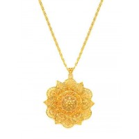 Golden Chunky Foral Ethnic Pendant Necklace