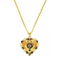 Golden Ethnic Pendant Necklace For Women