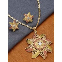 Golden and Pink Flower Ethnic Pendant Necklace