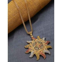 Golden Surya Ethnic Pendant Necklace