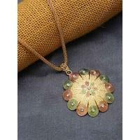 Multicolored Flower Ethnic Pendant Necklace