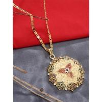 Embellished Golden Ethnic Pendant Necklace