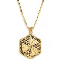 Golden Geometrical Ethnic Pendant Necklace
