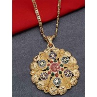 Golden Flower Ethnic Pendant Necklace with Green and Red Floral Motifs
