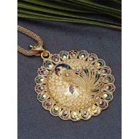 Classic Golden Peacock Ethnic Pendant Necklace