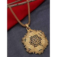 Golden Ethnic Pendant Necklace with Multicolored Designer Motifs