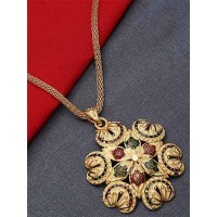 Golden Ethnic Pendant Necklace with Peacock Motifs
