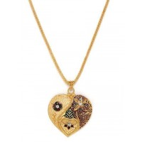 Golden Heart Ethnic Pendant Necklace with Floral Motifs