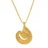 Designer Golden Peacock Ethnic Pendant Necklace