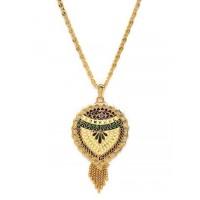 Multicolored Floral Ethnic Pendant Necklace