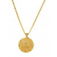 Golden Round Ethnic Pendant Necklace