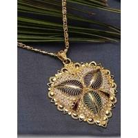 Golden Heart Ethnic Pendant Necklace