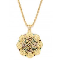 Golden Ethnic Pendant Necklace with Red and Green Designer Motifs