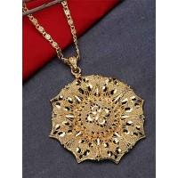 Golden Chunky Ethnic Pendant Necklace