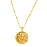Designer Golden Ethnic Pendant Necklace