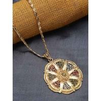 Multicolored Ethnic Pendant Necklace with Designer Motifs