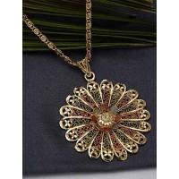 Multicolored Flower Ethnic Pendant Necklace with Designer Motifs