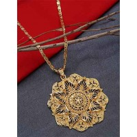 Golden Ethnic Pendant Necklace with Spade Motifs