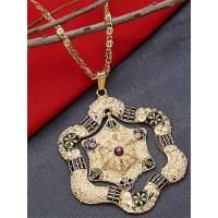 Golden and Green Flower Ethnic Pendant Necklace with Red Stone