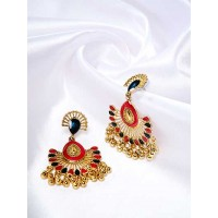 Golden Ethnic Dangle Earrings With Red and Black Stones