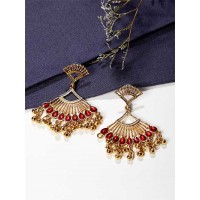 Triangular Golden and Red Ethnic Dangle Earrings
