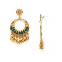 Golden and Green Circular Ethnic Dangle Earrings