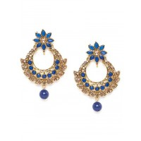 Golden and Blue Ethnic Chandbali Earrings
