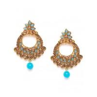 Golden and Blue Chandbali Ethnic Earrings