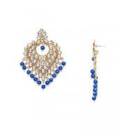 Golden and Blue Heart Kundan Earrings