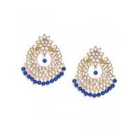 Golden and Blue Chandbali Kundan Earrings