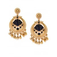 Golden and Blue Circular Ethnic Dangle Earrings