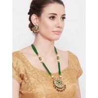 Green Meenakari Gold-Plated Jewellery Set