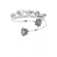 Adjustable Oxidized Silver Bracelet with Owl Charms