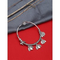 Adjustable Oxidized Silver Bracelet with Cute Leaves Charms