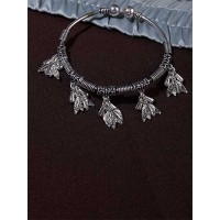 Adjustable Oxidized Silver Bracelet with a bunch of Leaves Charms