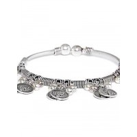 Adjustable Oxidized Silver Bracelet with Classic Coins Charms