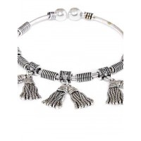 Adjustable Oxidized Silver Bracelet with Quirky Broom Charms