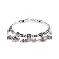 Adjustable Oxidized Silver Bracelet with Vintage Leaf Charms