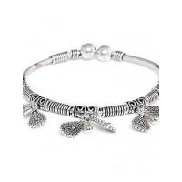 Adjustable Oxidized Silver Bracelet with Designer Charms