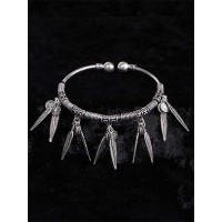 Adjustable Oxidized Silver Bracelet with Leaves and Coins Charms