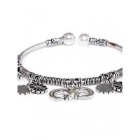 Adjustable Oxidized Silver Bracelet with Moon and Star Charms