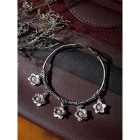 Oxidized Silver Bracelet with Cute Floral Charms