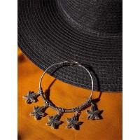 Oxidized Silver Bracelet with Starfish Charms